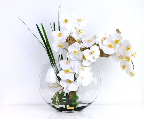 White Orchids And Grape Wood Moon Vase