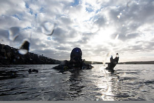 A happy diver on the surface after a successful dive.