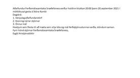 Ferðamálasamtök Snæfellsness boða til aðalfundar næsta mánudag: 20. sept kl. 20