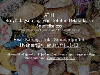Stofnfundur Matarklasa Snæfellsness verður á föstudaginn, frá kl. 11 - 13