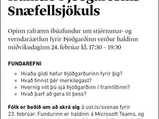 Opinn íbúafundur um stjórnunar-og verndaráætlun Þjóðgarðsins Snæfellsjökuls
