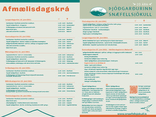 Afmælisdagskrá Þjóðgarðsins Snæfellsjökuls í júní 2021
