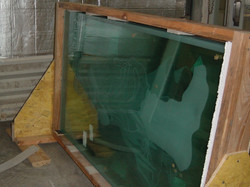 Crated Etched Glass Panel