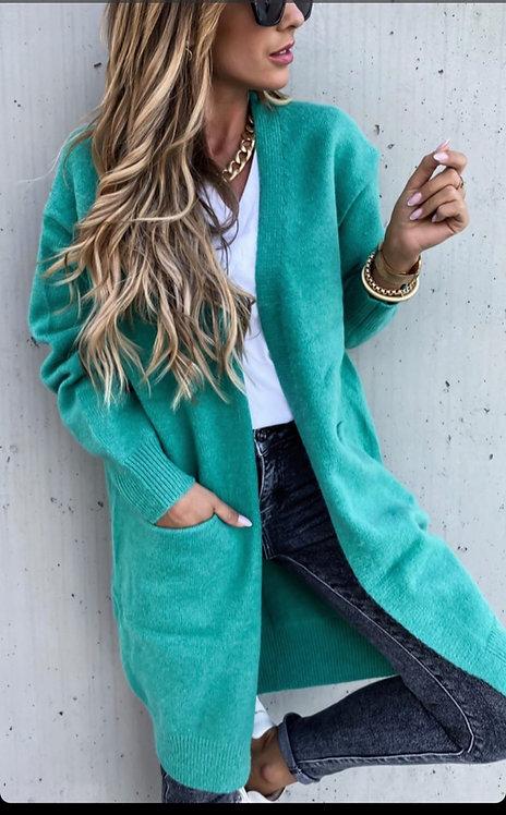 Gilet long noir et vert