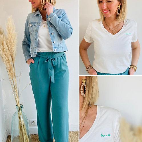 Pantalon large Vert Céladon