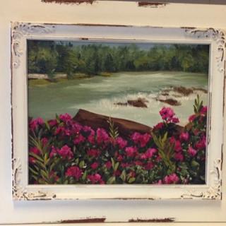 Oil from photo on canvas - Winooski Riverwalk, VT