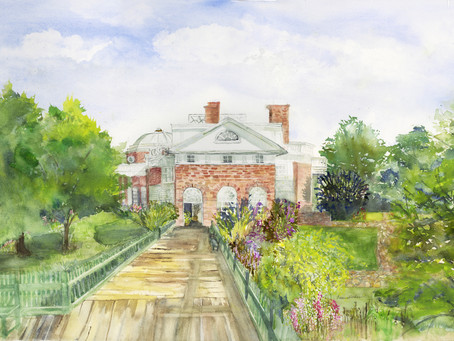 Monticello - a full-sheet watercolor