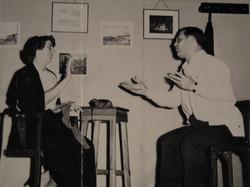 Ilse Grunewald (nee Koppel) and Heinz Grunewald perform in a skit at Centro Israelita -- undated, Gu