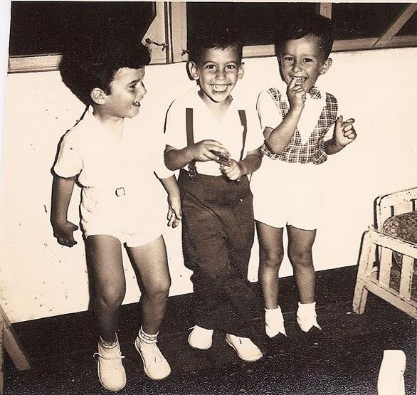 From left_  NIko Sifnaghel, Peter Albers, and Gabi Alexandrer -- My 4th birthday party  -- July 1955