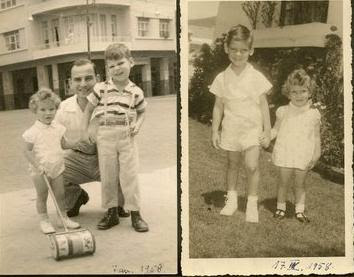 Left_  Gert Koppel and children, Jeanny and Tom -- 1958, Guayaquil;  Right_  Tom and Jeanny Koppel -