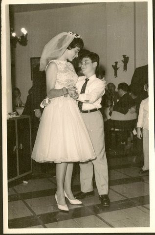 New bride, Katja Lakatos (nee Sifnaghel) dancing with her brother, Niko -- 1961, Guayaquil