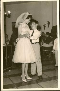 New bride, Katja Lakatos (nee Sifnaghel) dancing with her brother, Niko -- 1961, Guayaquil