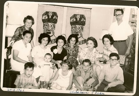 Christian Braasch's first birthday party.  Back row, far left_ Else Wellisch (nee Deller); far right