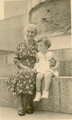 Amalie Koppel (Oma Malchen, nee Heilbut) with great grand-daughter, Peggy Grunewald -- June 6, 1955,