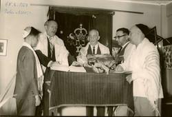 Peter Albers Bar Mitzvah (center_ John Koppel; to his left_ Ernst Wellisch) -- June 15, 1963, Guayaq