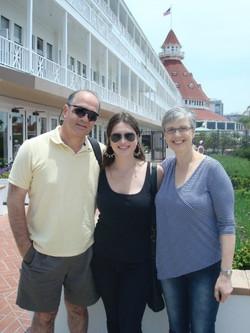 From left_  Ralph, Emily & Marilyn (nee Prooth) Grunewald -- 2009, Hotel del Coronado, Coronado, CA