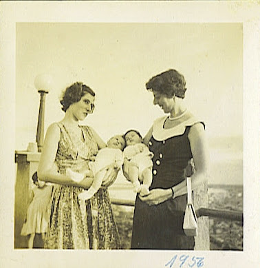 Edith Koppel (nee Wellisch) with daughter, Jeanny Koppel and Ilse Grunewald (nee Koppel) with son, R