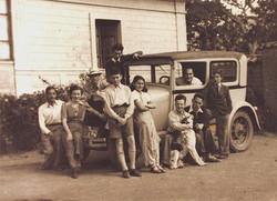 Left to right_  Walter Karger, Kaete Kiwi (founder of the Jugenbund Chanitah), Werner Levy, (standin