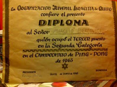 Diploma from Organizacion Juvenil Israelita de Quito (1963)