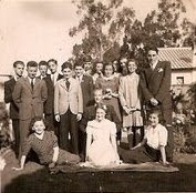 Werner Levy's birthday -- 1945, Quite.  Back row, from left_ Firtz (Frisco) Adler, Peter Kuttner, V.