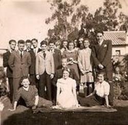 Werner Levy's birthday -- 1945, Quite.  Back row, from left_ Firtz (Frisco) Adler, Peter Kuttner, V.