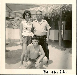 From left_  Gerda Sifnaghel (nee Gumpel), Niko Sifnaghel & Manea Sifnaghel -- December 31, 1962, Hot