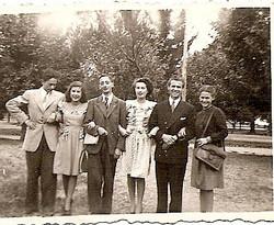 From left_ Herbert Marx, Edith Schwamenau, Walter Karger, Senta Schwamenau, Fritz Adler, Eva Rosenth