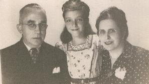 Cati Holland and her parents -- 1947, Guayaquil