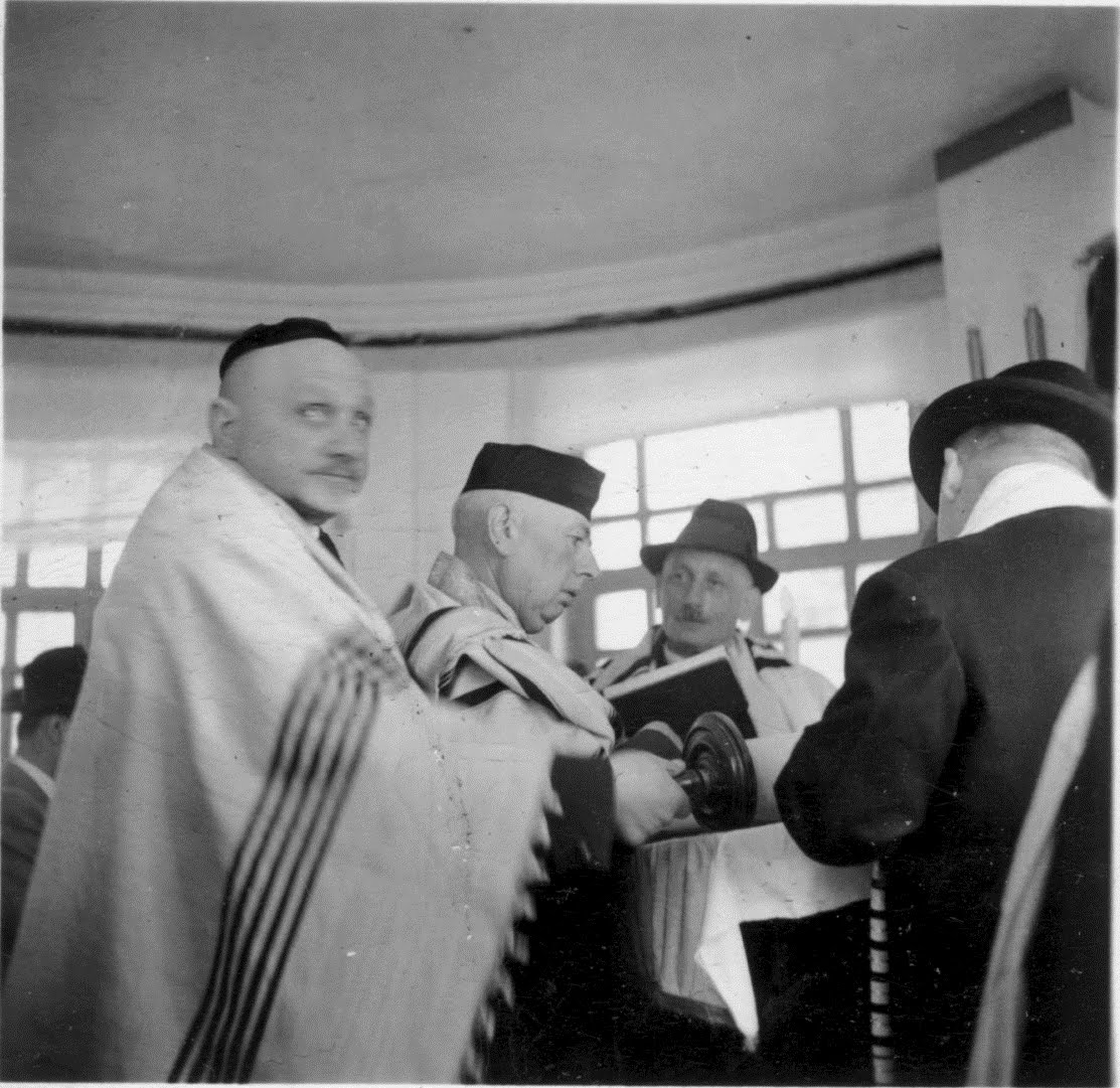 Salomon Neumann reading the Torah in Quito, Ecuador -- 1944