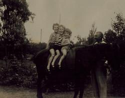 From left_  Renata Aron, Gert Aron & Marianne (Janne) Aron on horse -- July 1932