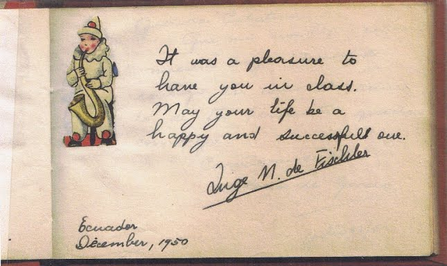 Inge Fischler's Note to her 7th grade student, Cati Cohn (December 1950)