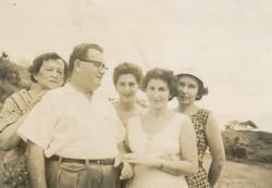 From left_ Lucy Fischler, Manea Sifnaghel, Gerda Sifnaghel (nee Gumpel), Ruth Czarninski, and Inge F