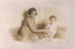 My sister, Eveline, and me in our apartment in Casa Frutal  -- 1939, Guayaquil.jpg