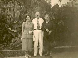 Magda Koppel (nee Partos), John Koppel, and Amalie Koppel (nee Heilbut) -- May 1949, Guayaquil