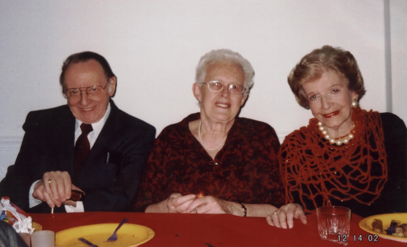 From left_  Rene & Renata Taube (nee Aron) and Gertie D'Amcourt -- 2002