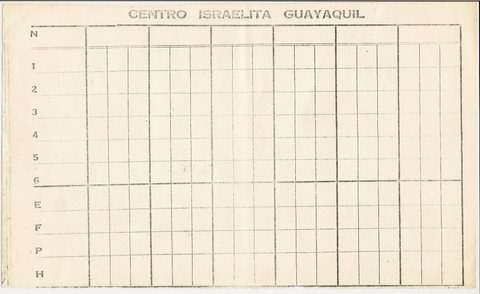 """Cacho"" scoring paper from Centro Israelita Guayaquil"