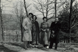 From left_  Rene & Renate Taube (nee Aron) with two friends -- ca.jpg