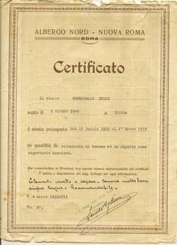 Heinz Grunewald's certificate, issued in Rome,