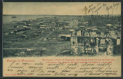 Guayaquil -- Rio Guyas y Puerto de Guayaquil, vista tomada desde el Cerro de Santa Ana, à los pocos