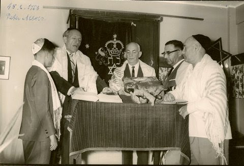 Peter Albers Bar Mitzvah (center_ John Koppel; to his left_ Ernst Wellisch) -- June 15, 1963, Guayaq