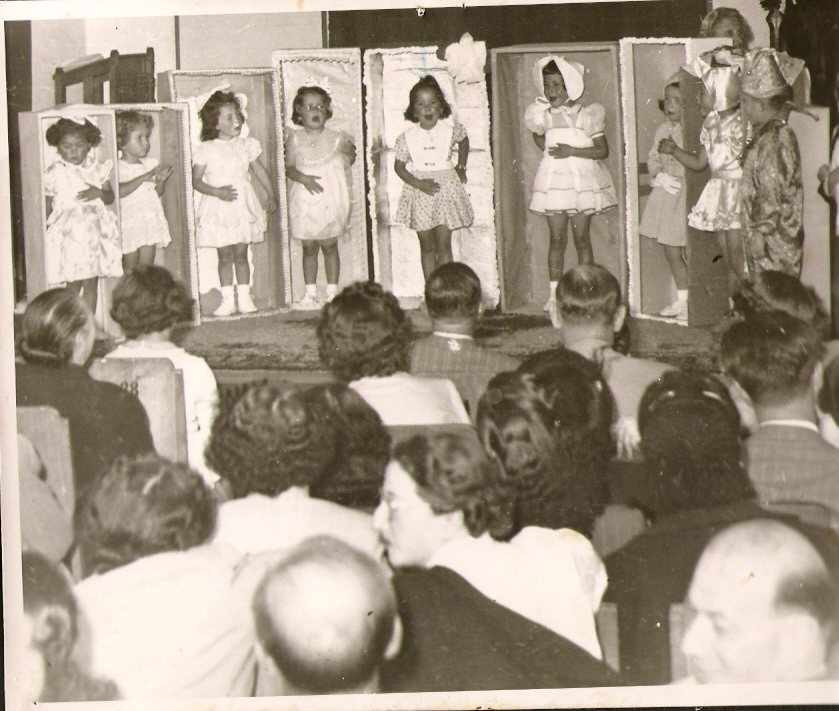 Photograph of girls as dolls must have been taken in the 1950's and the children I recognize are_ My