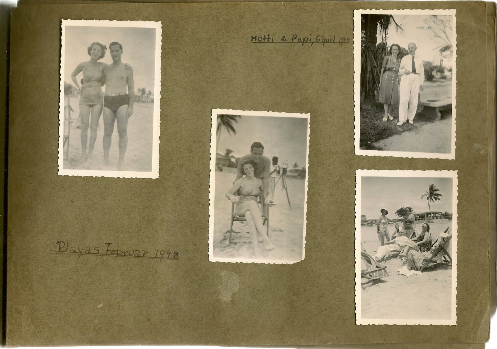 Ilse Grunewald (nee Koppel) Collection_ Playas -- February 1948, with her husband, Heinz Grunewald a