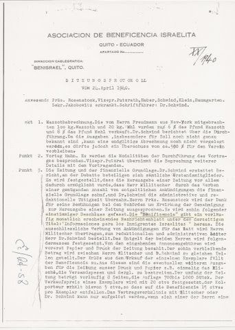 Associacion de Beneficencia Israelita (Quito) -- Meeting minutes of April 24, 1940