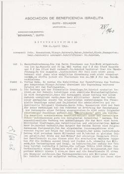 Associacion de Beneficencia Israelita (Quito) -- Meeting minutes of April 24, 1940