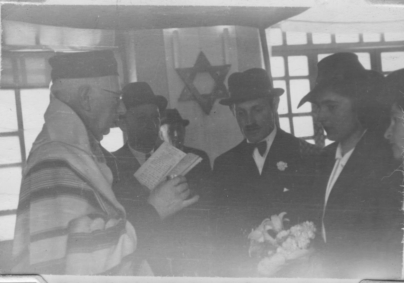 Salomon Neumann officiating at a wedding in Quito, Ecuador -- 1944