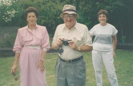 From left_  Gerda Sifnaghel Anders (nee Gumpel), Fred Anders & Katja Lindenberg (nee Sifnaghel) -- (