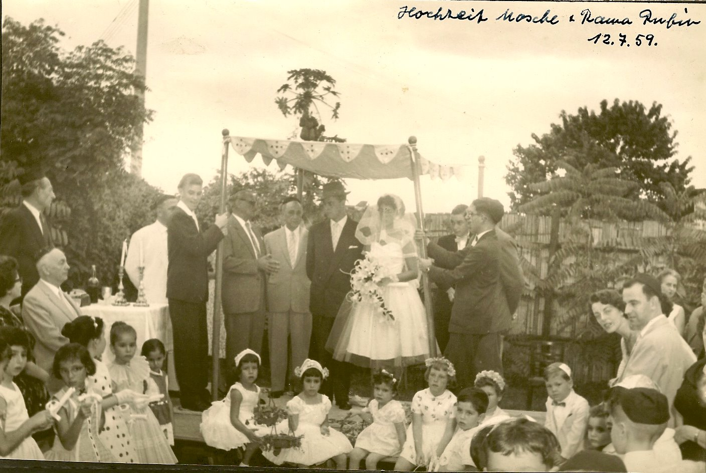 Marriage of schaliach Moshe Rubin to his wife, Rama _ the Centro Israelita Club -- July 12, 1959, Gu