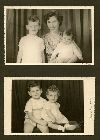 Edith Koppel (nee Wellisch) with her children, Tom and Jeanny -- 1956, Guayaquil