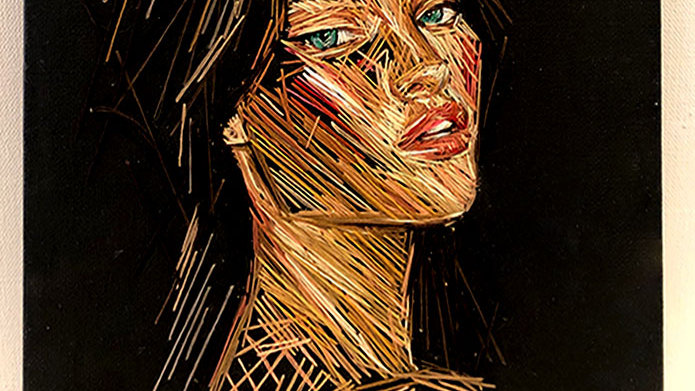 Girl on Black Canvas
