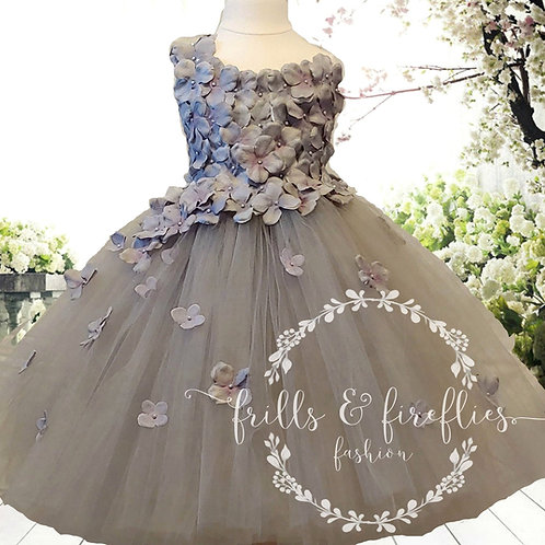Gray/Grey One Shoulder Flower Girl Dress/Bridesmaid Dress in Sizes 1t up to 12